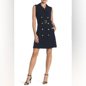 NWT SHARAGANO SLEEVELESS DOUBLE BREASTED BELTED